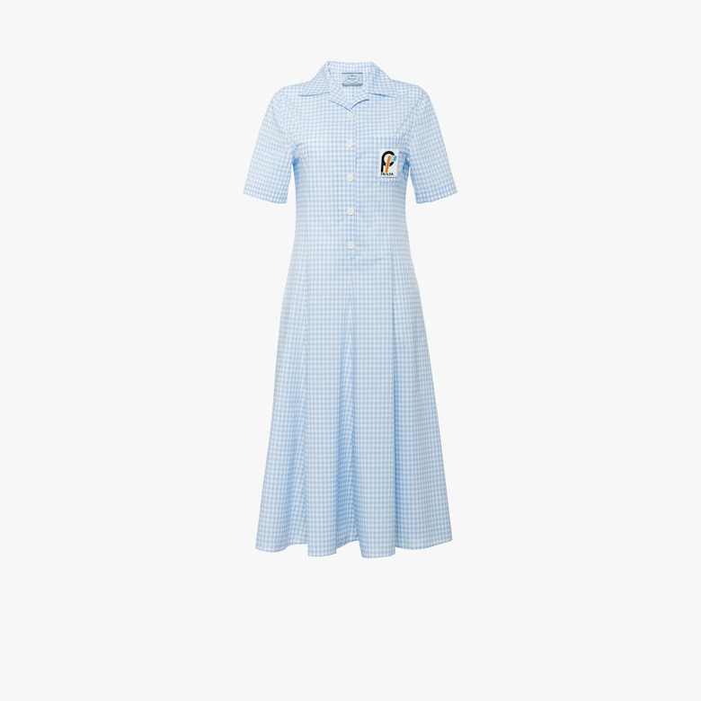 Short-sleeved Vichy check chemisier dress