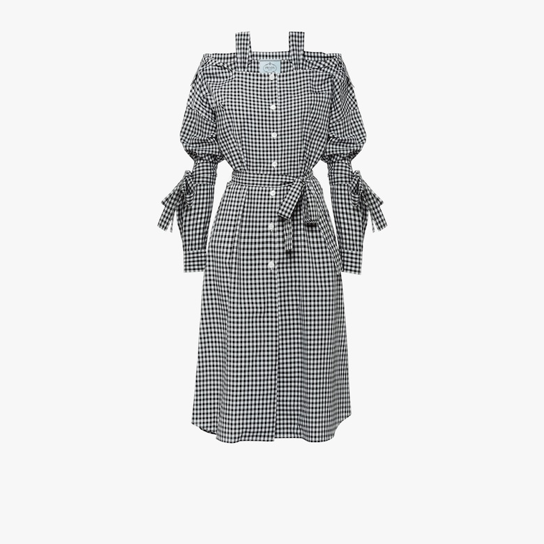 Vichy check chemisier dress with straps