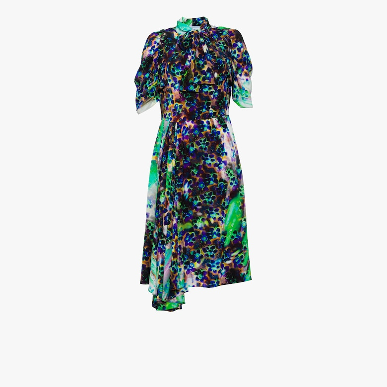 Multicolored print marocain dress
