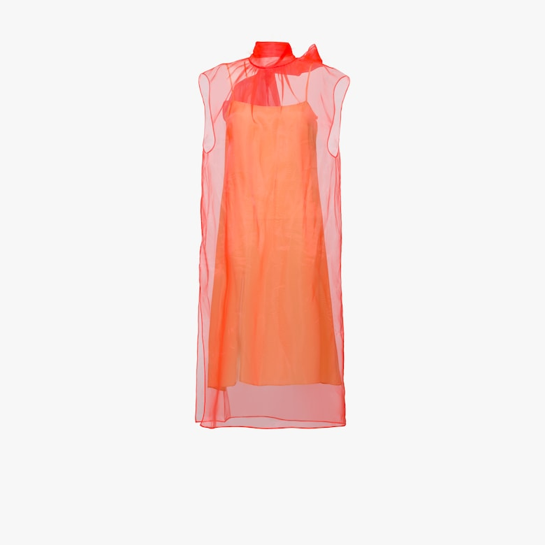 Sleeveless technical organza dress
