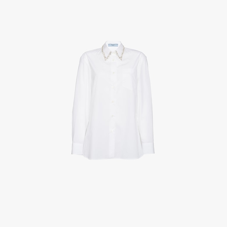 Embroidered cotton poplin blouse