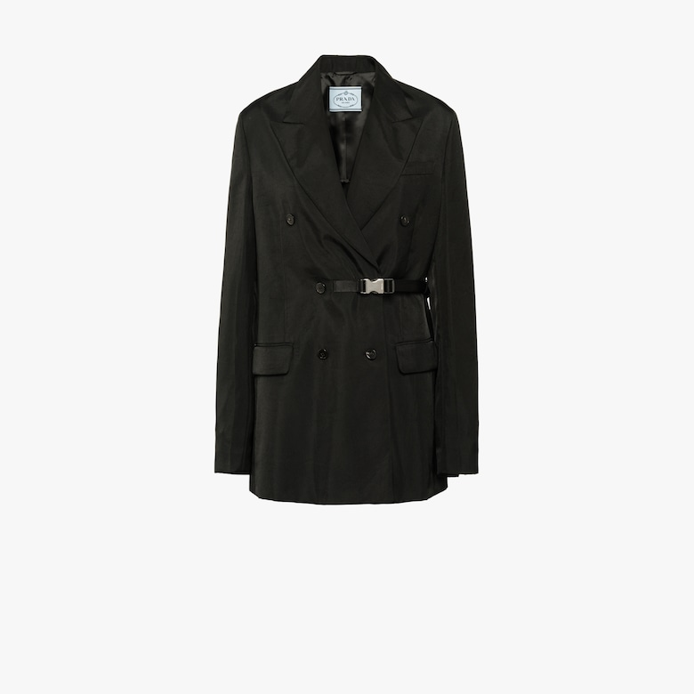 Technical twill double-breasted jacket