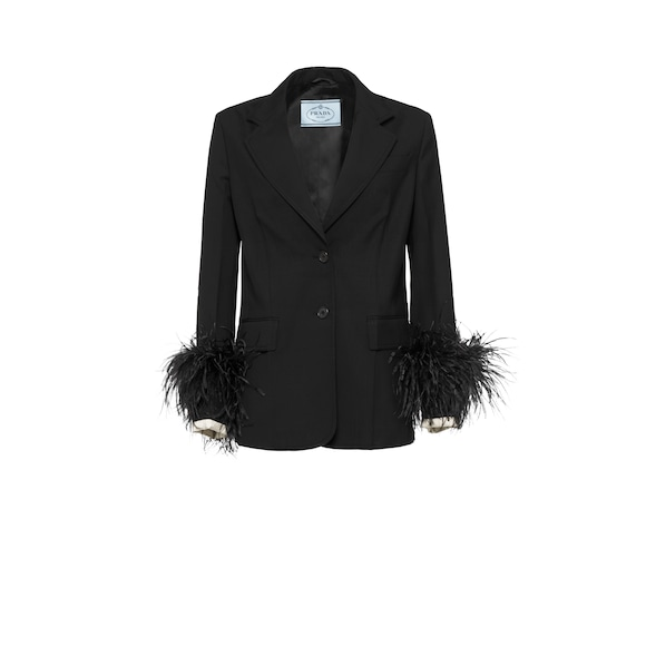 Wool jacket with feathers