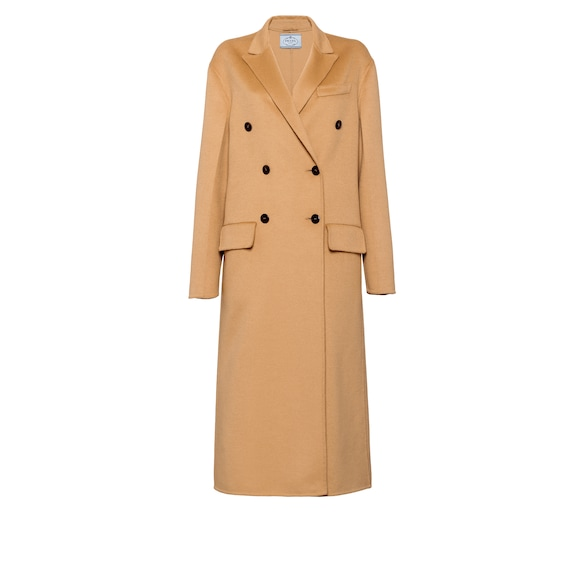 Wool and angora coat with fur trim