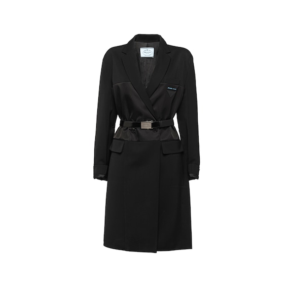 Wool, satin nylon gabardine coat