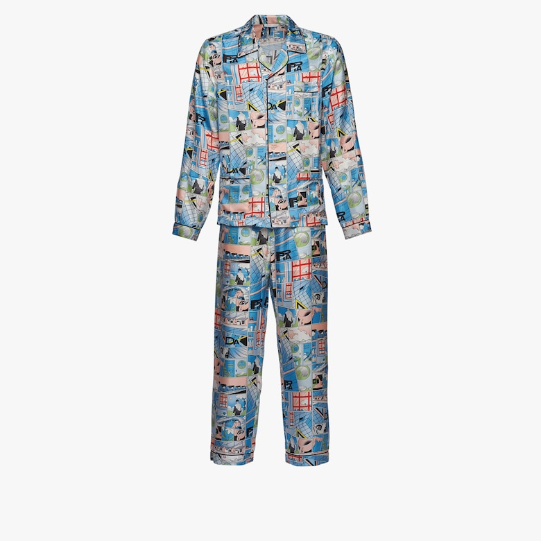 Long silk pajamas with comics motif