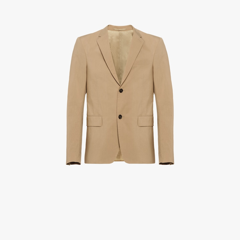 Washed poplin single-breasted jacket