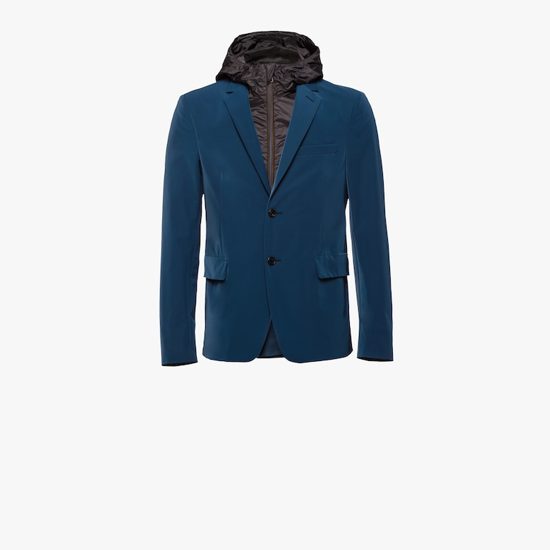 Technical fabric single-breasted jacket