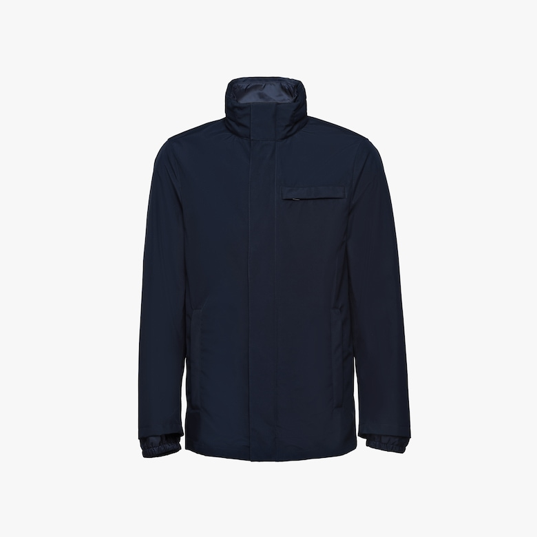 Technical poplin jacket with removable lining