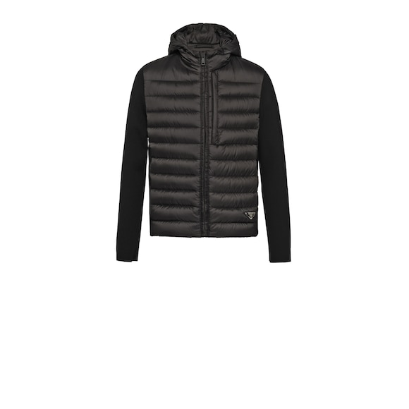 Nylon and knit puffer jacket