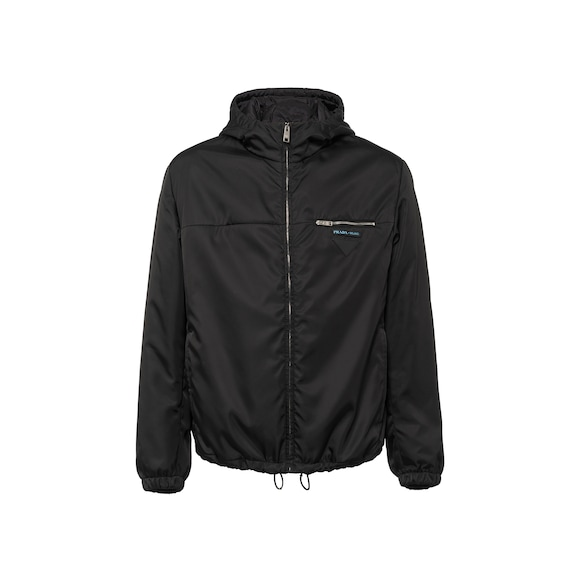 Nylon gabardine jacket with hood