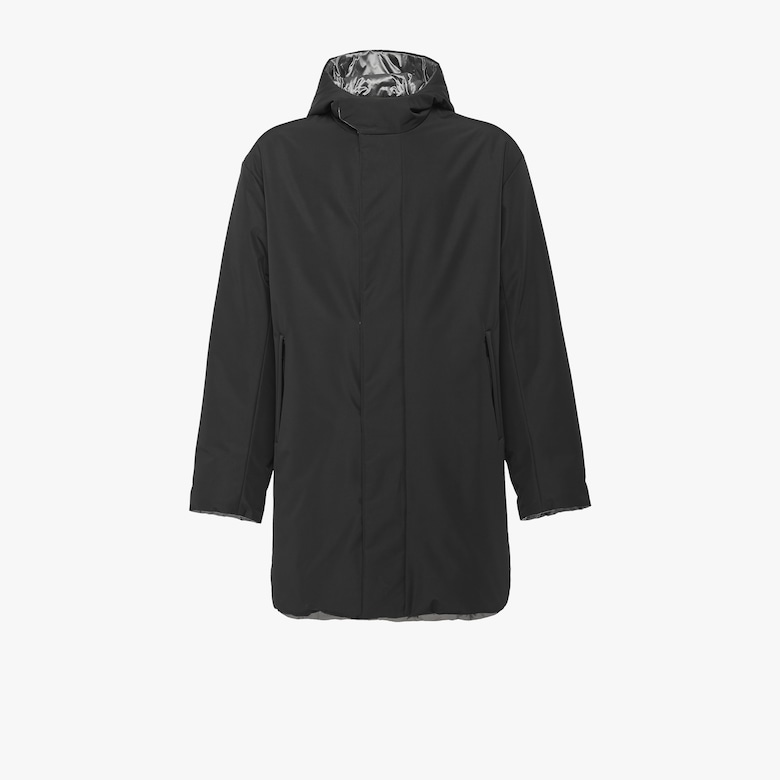 Reversible technical poplin puffer jacket