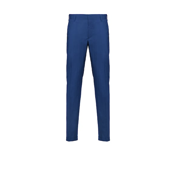 Slim-fit washed cotton trousers