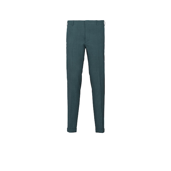 Wool and silk seersucker trousers
