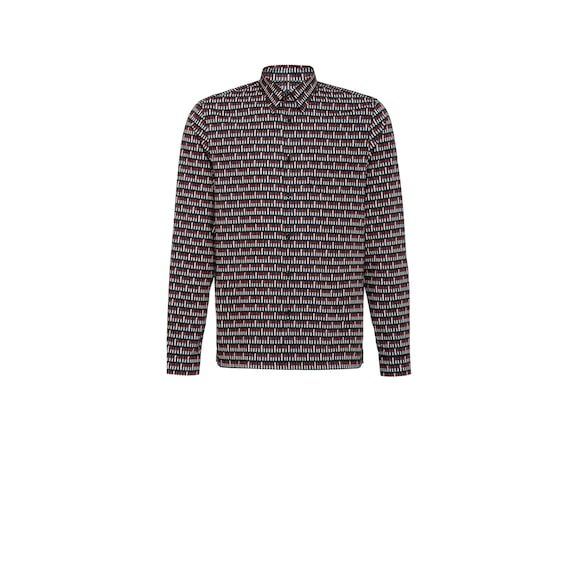 Poplin shirt with lipstick print