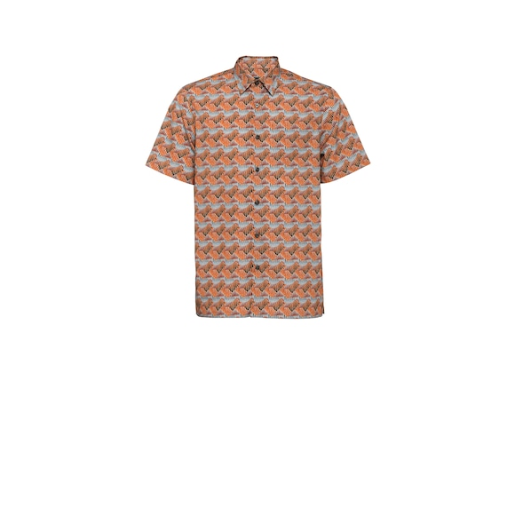 Short-sleeved poplin shirt