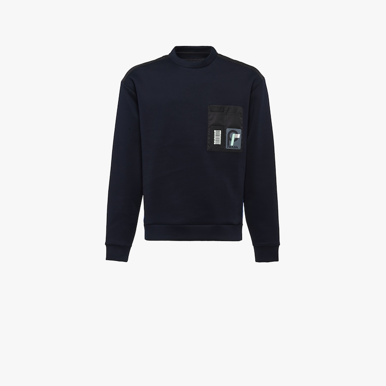 Technical cotton crew-neck sweatshirt