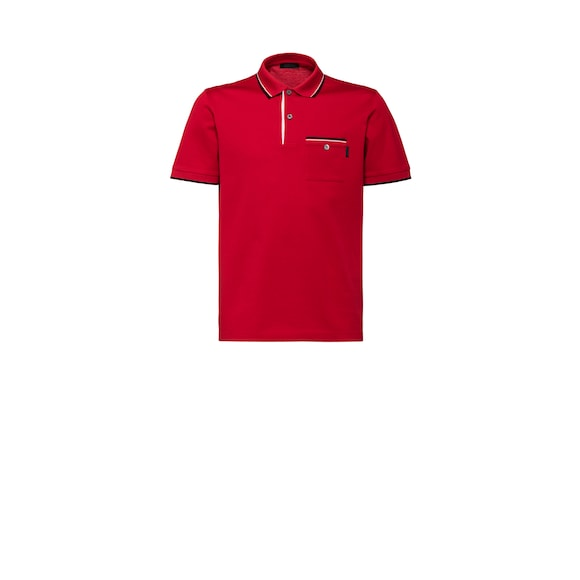 Two-tone cotton polo shirt