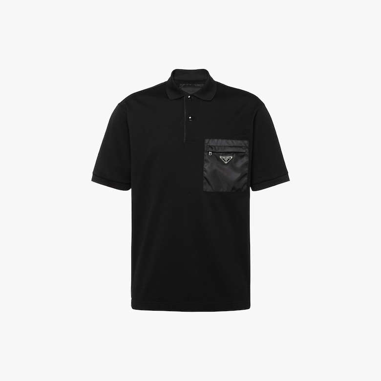 Cotton piqué polo shirt with inserts