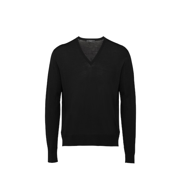 Worsted Wool V-Neck Sweater