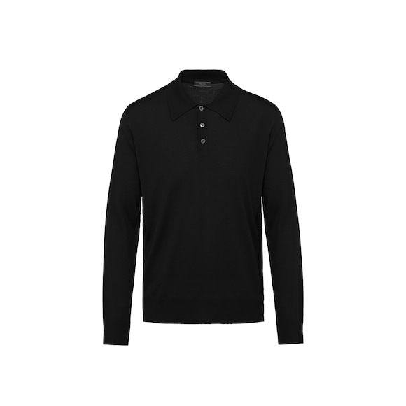 Worsted wool polo shirt