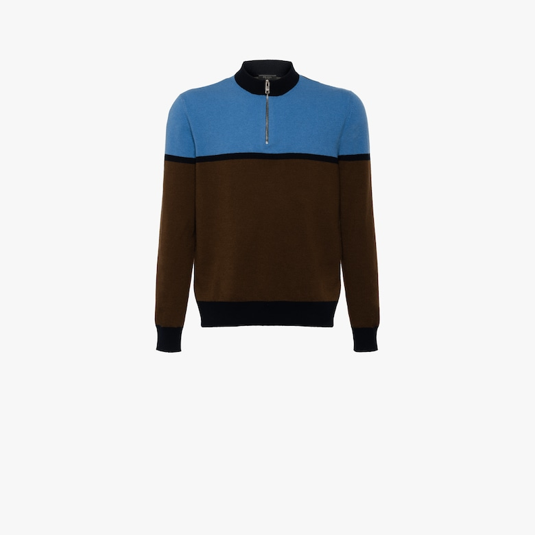 Washed lambswool mock turtleneck