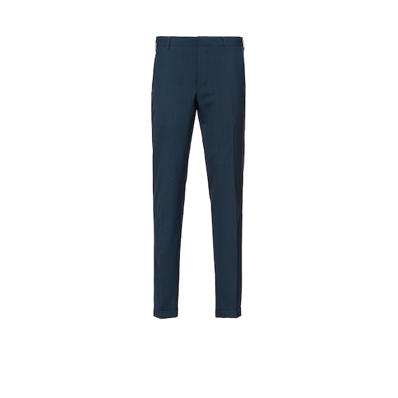Wool and mohair slim-fit trousers