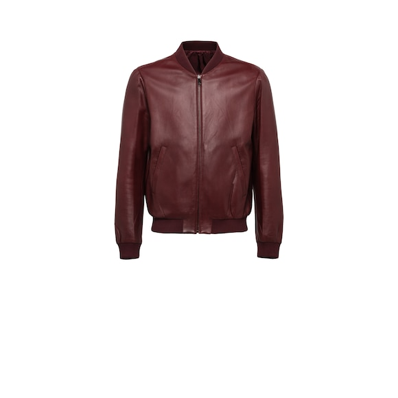 Reversible nappa leather and nylon bomber jacket