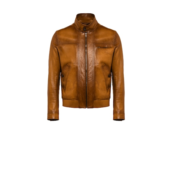 Waxed nappa leather jacket