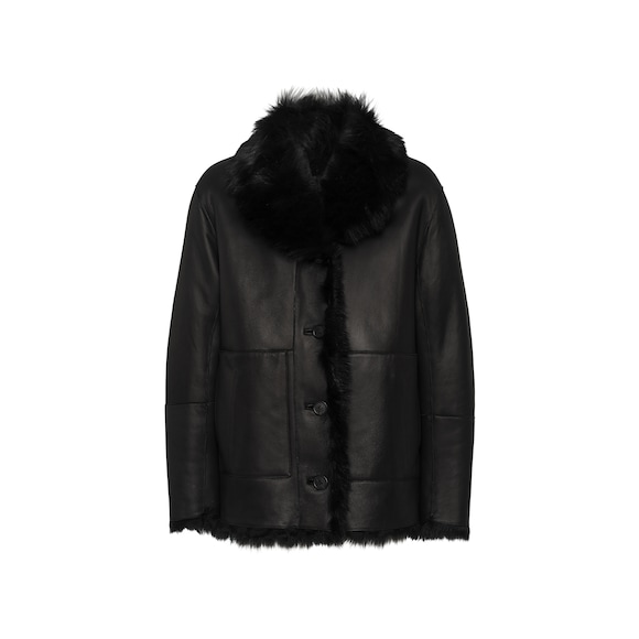Reversible leather and shearling jacket