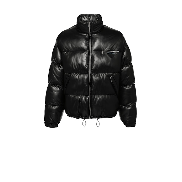 Nappa leather puffer jacket