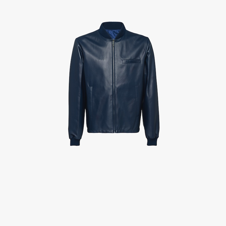 Reversible nappa leather bomber jacket