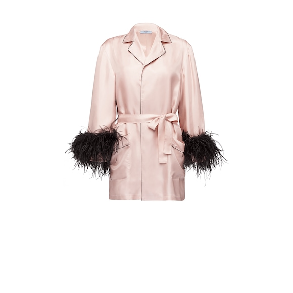 Silk jacket with feathers